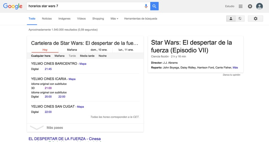 horarios star wars 7 Buscar con Google
