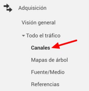 google analytics menú adquisición para seleccionar canal