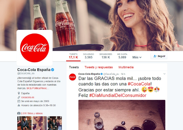 perfil twitter Coca Cola