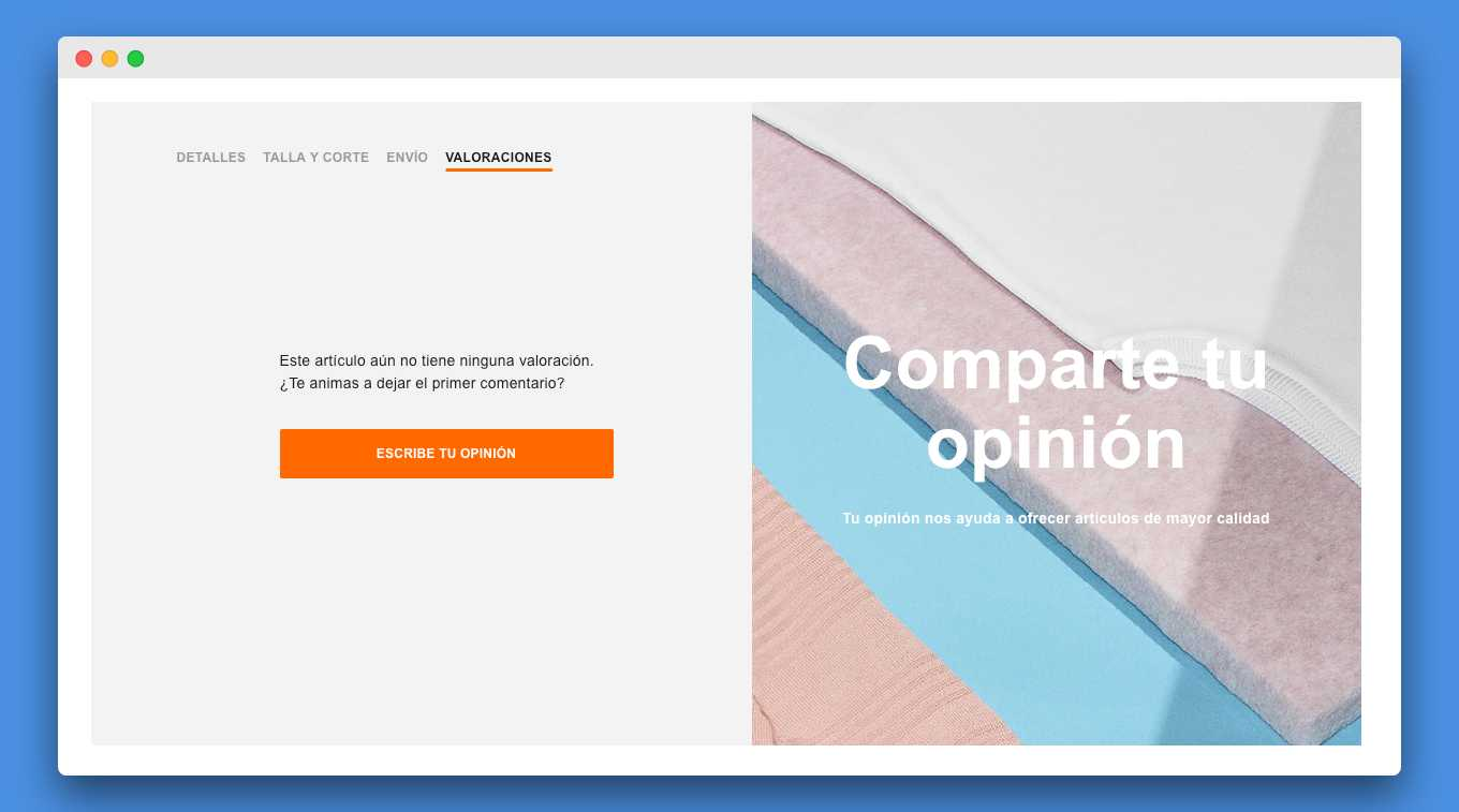 opiniones producto ecommerce