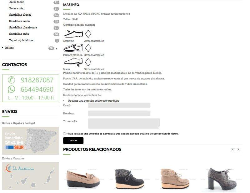 Formulario de contacto en catálogo online