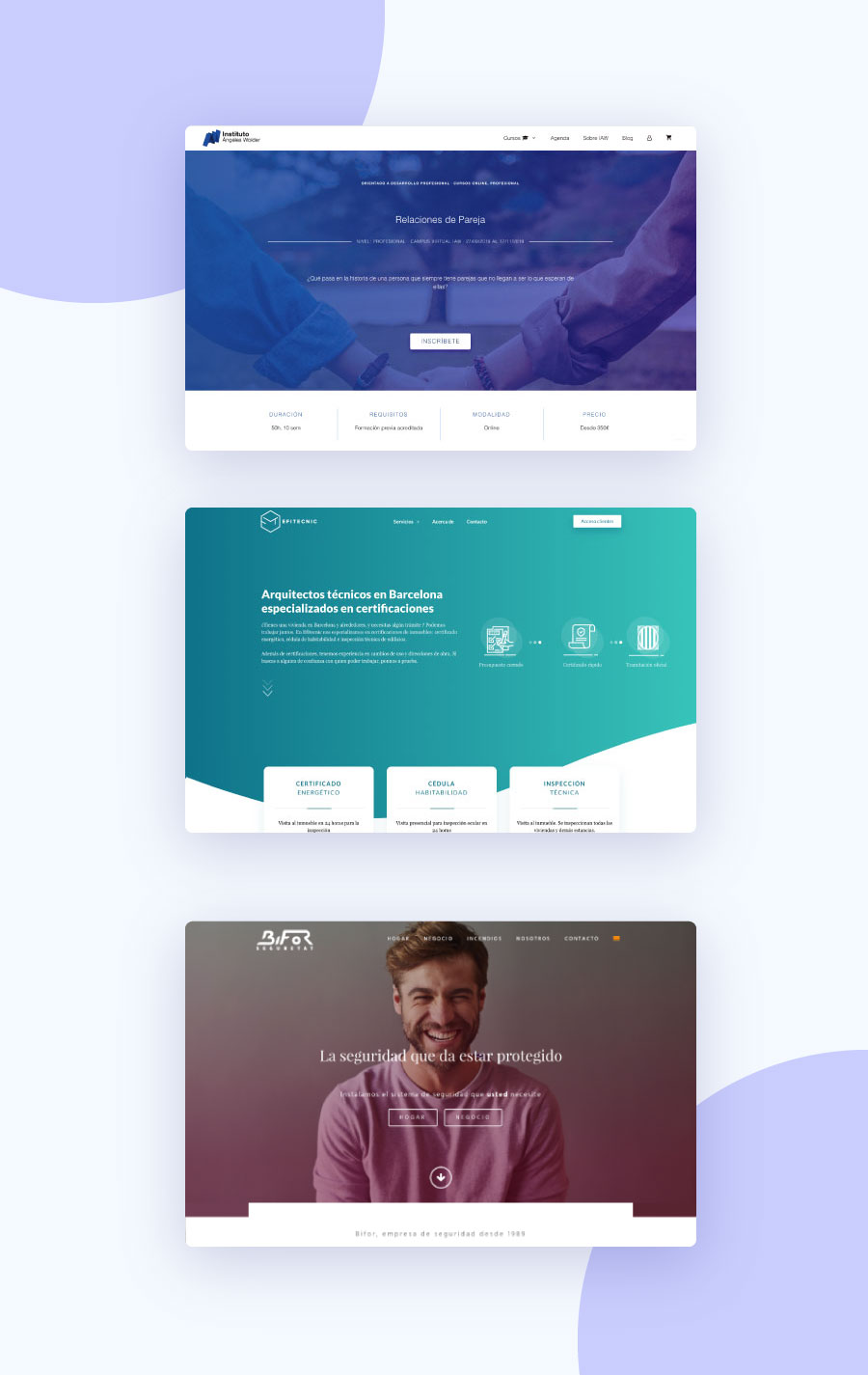 ejemplos de diseños web 2019 con degradados