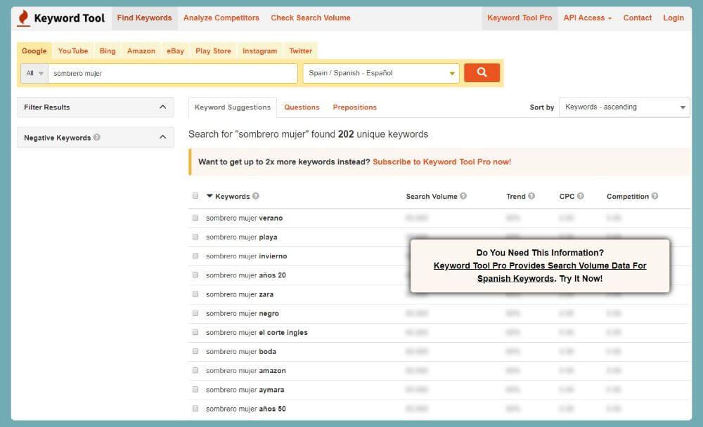 buscar palabras clave Keyword Tool