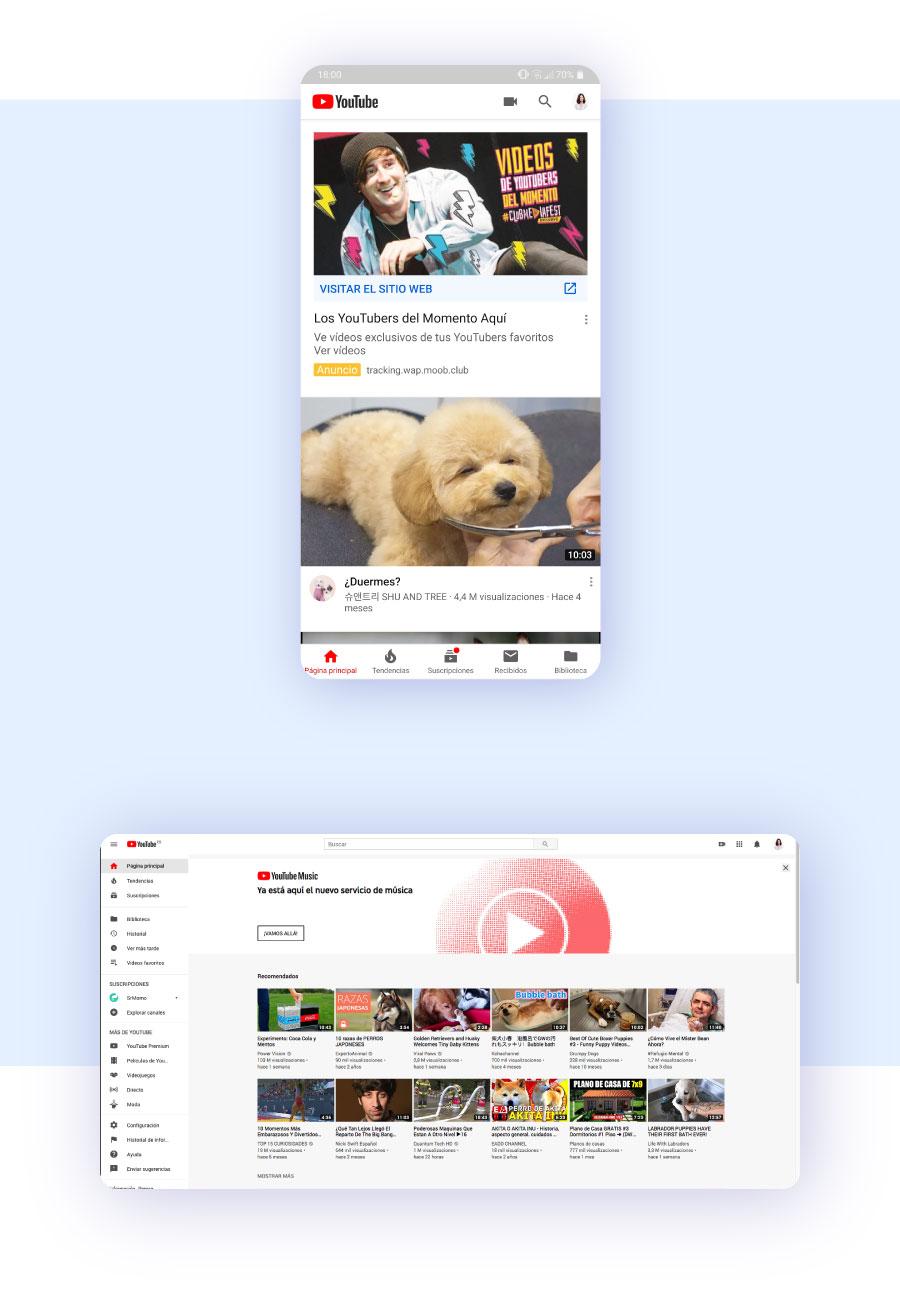 diseño Youtube móvil vs ordenador
