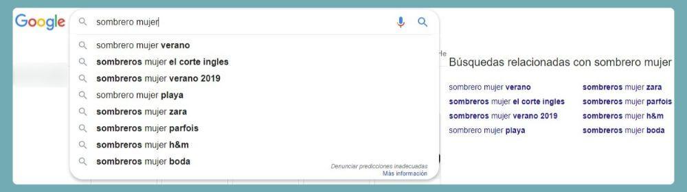 sugerencias de búsquedas relacionadas de Google