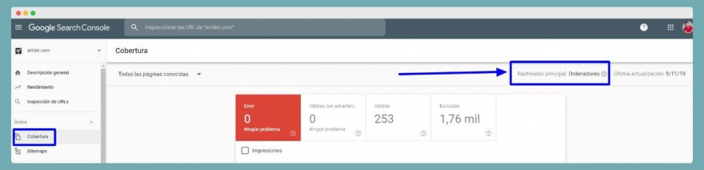 identificar crawler en Search Console
